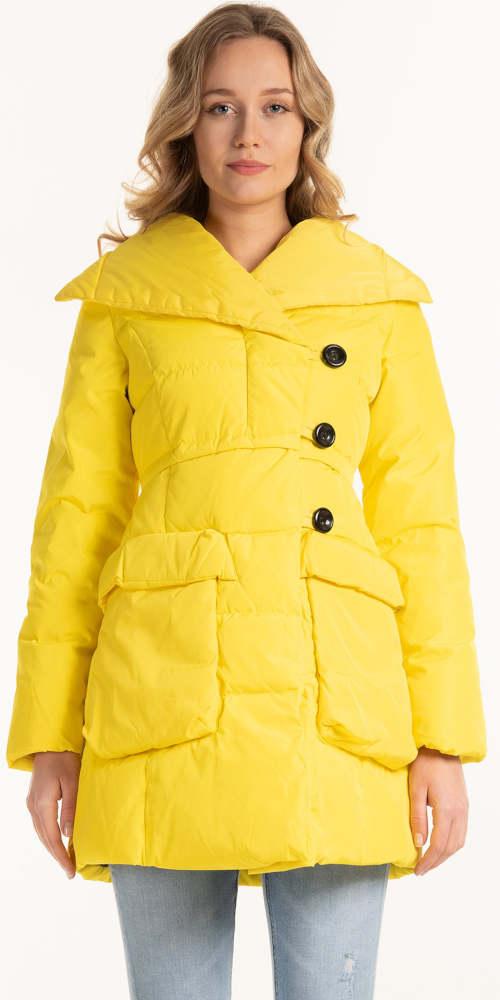 Žlutá zavinovací dámská zimní bunda s velkými knoflíky