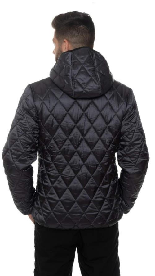 Prošívaná černá pánská zimní bunda s délkou do pasu