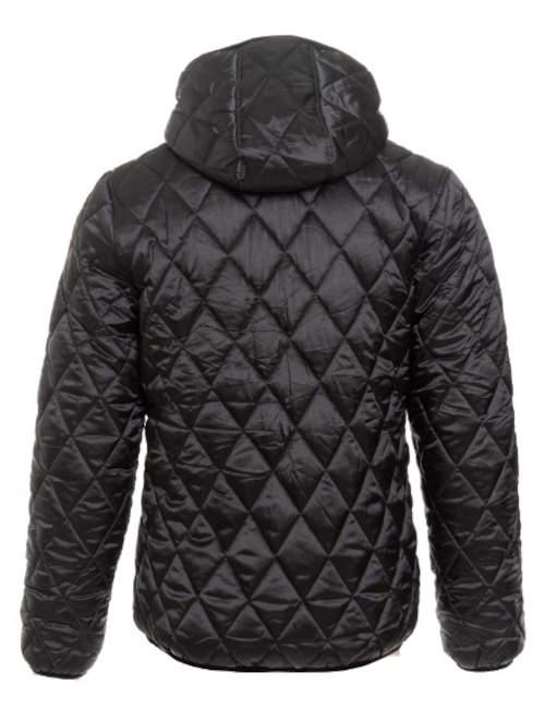 Prošívaná černá pánská zimní bunda s neodnímatelnou kapucí