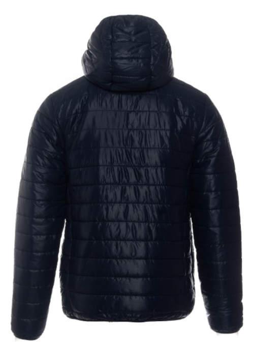 Tmavě modrá pánská prošívaná zimní bunda s kapucí