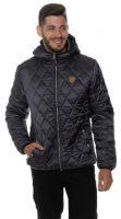 Černá pánská zimní prošívaná bunda s kapucí