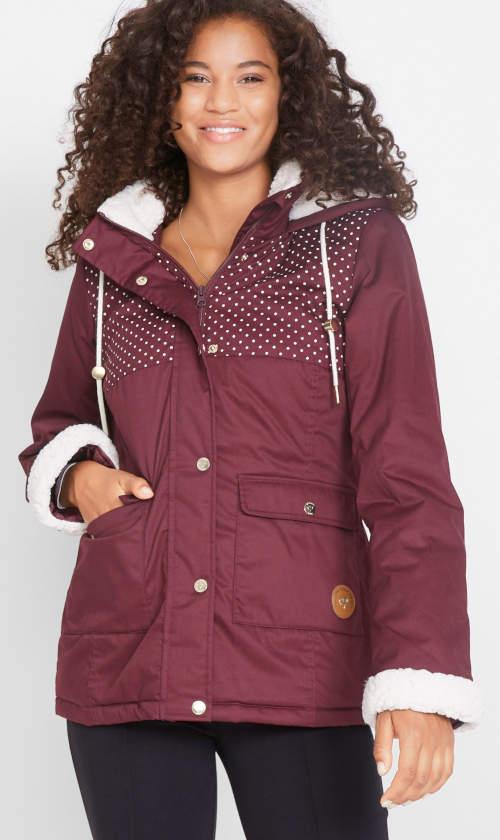 Dámská bordó bunda s hřejivým fleecem