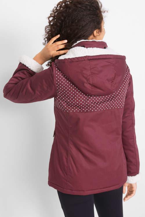 Fialová dámská zimní bunda s velkou kapucí