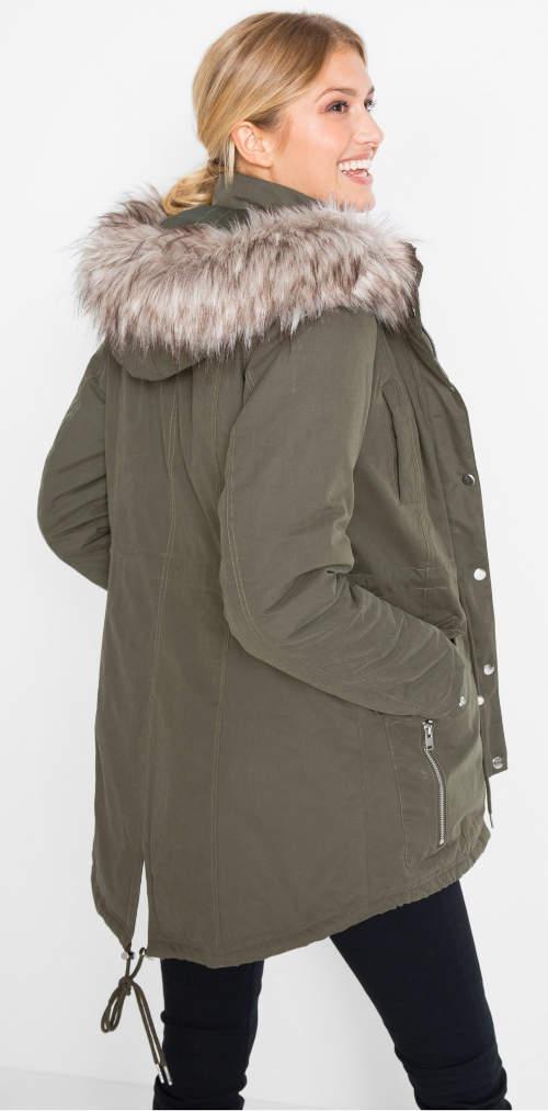 Prodloužená dámská zimní zimní parka s kožíškem