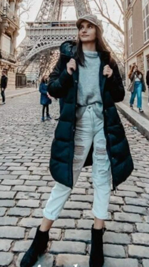 Prošívaný dámský zimní kabát do města