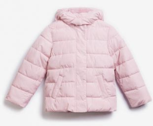 Světle růžová dětská prošívaná zimní bunda GAP