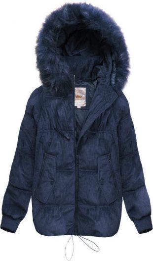 Tmavě modrá manšestrová dámská zimní bunda s kapucí