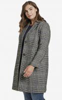Dámský kabát v konfekci size plus v moderním kostkovaném vzoru