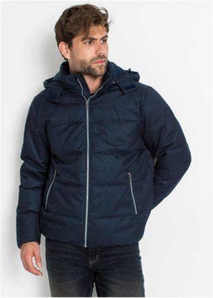 Módní pánská prošívaná bunda s kapucí v modrém provedení