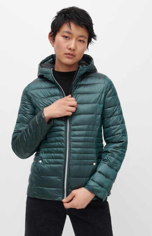 Prošívaná stylová bunda s výplní v tmavě tyrkysové barvě
