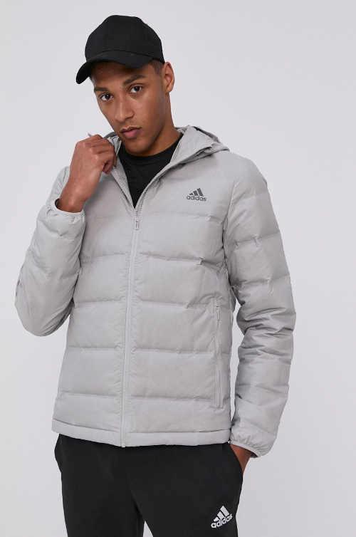 Stylová pánská péřová bunda do pasu ve světle šedé barvě