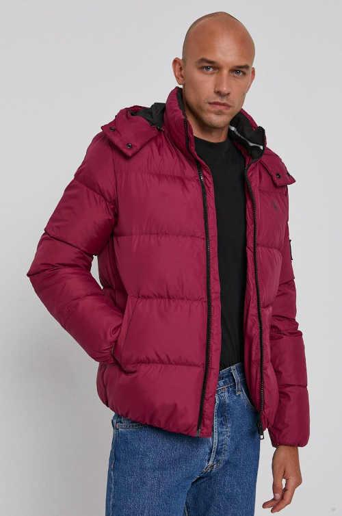 Vínová prošívaná pánská bunda do pasu Calvin Klein