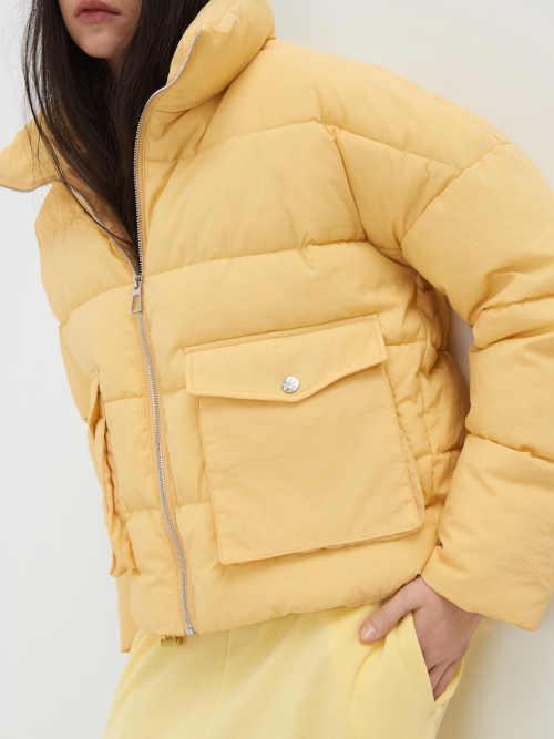 žlutá zimní prošívaná bunda