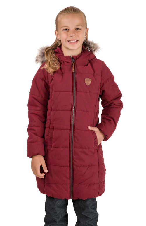 Dívčí prošívaný kabát s kapucí a kožešinovým lemem
