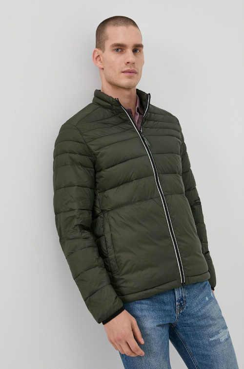 Pánská prošívaná bunda do pasu v módní khaki barvě
