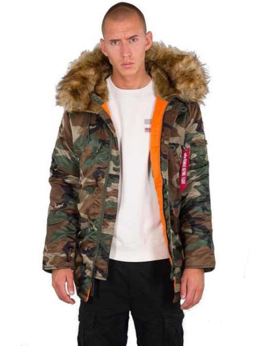 Pánská stylová zimní bunda s kapucí v maskáčovém vzoru