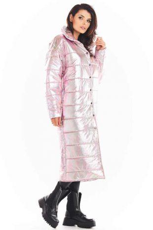 Růžová dámská holografická bunda s vyšším límcem