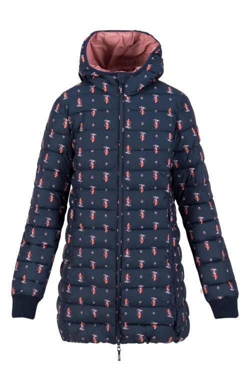 zimní bunda s kapucí s potiskem
