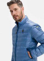 Bledě modrá pánská stylová prošívaná bunda do pasu