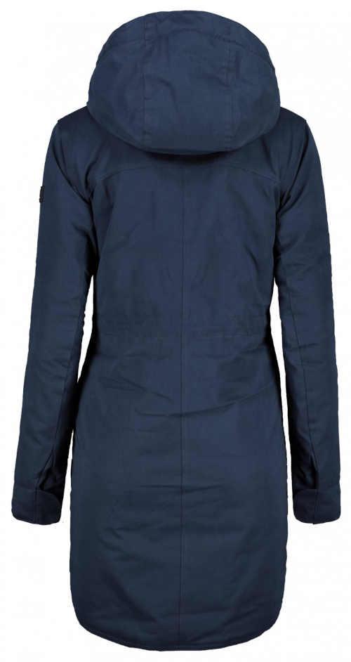 modrá delší bunda s kapucí