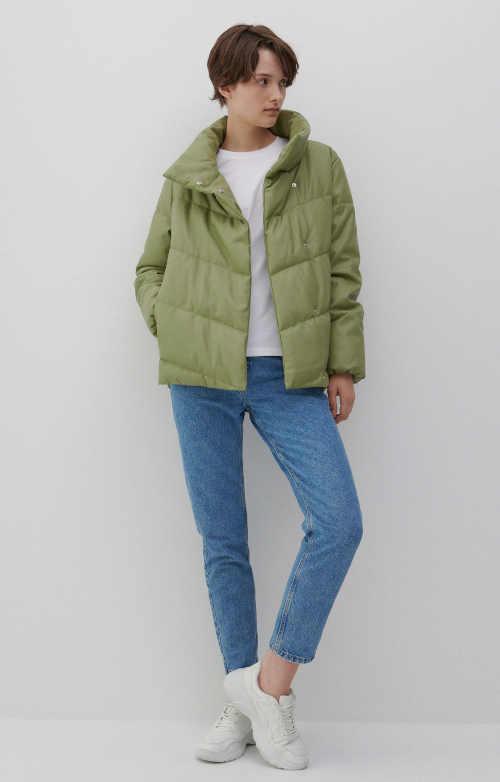 prošívaná dámská zelená bunda