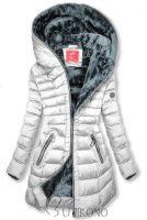 Dámská bílá stylová bunda s kapucí v prodloužené délce