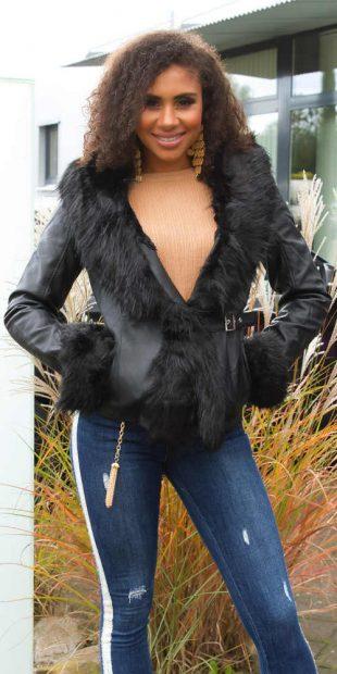 Dámská černá bunda do pasu zdobená kožešinovým lemováním
