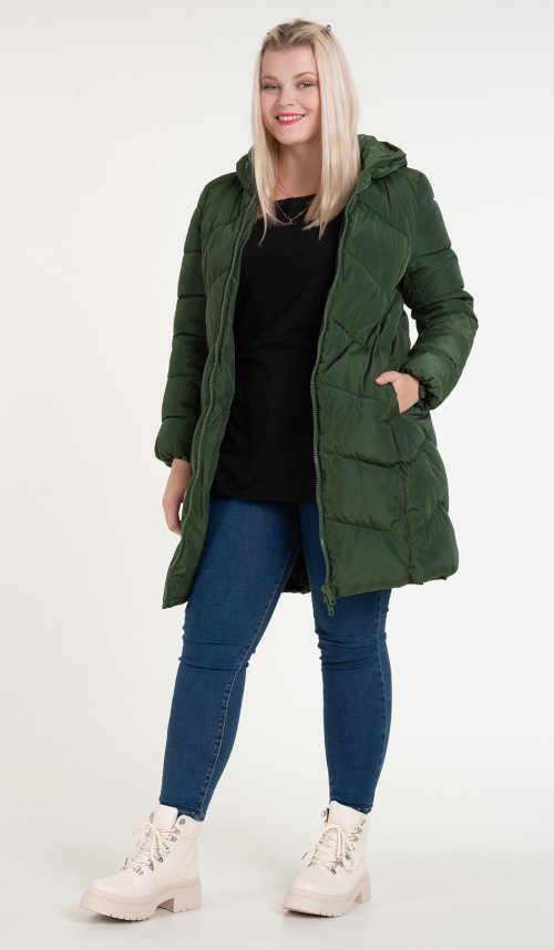Dámská stylová prošívaná zimní bunda s kapucí size plus