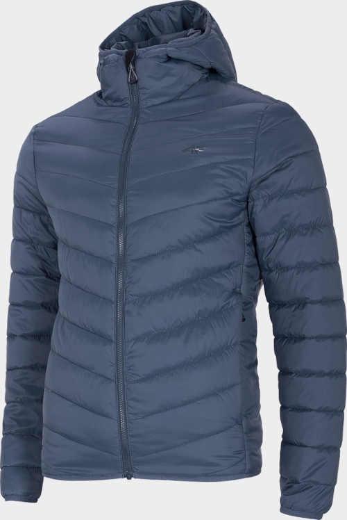 Tmavě modrá pánská kvalitní péřová bunda s kapucí