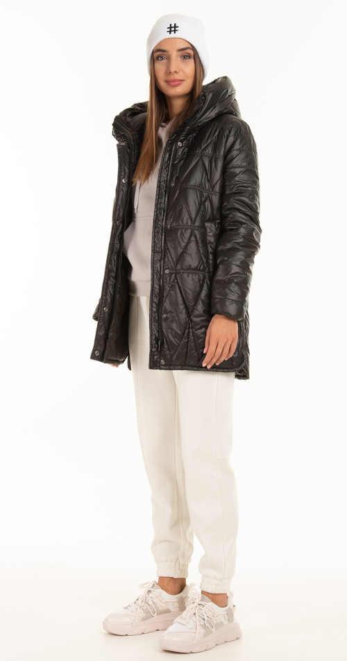 černá dámská lesklá prošívaná bunda