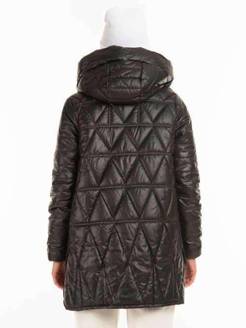 lesklá černá bunda s kapucí